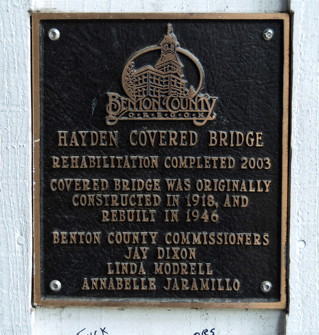 Hayden Bridge plaque